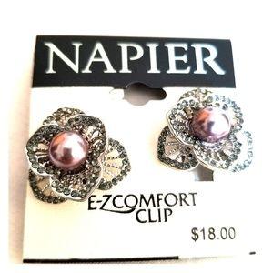 Napier Purple Pewter ClipOn Earrings